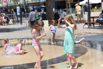 glenelg beach, adelaide beaches, kids beach fun, things to do in glenelg, water fun, fountains