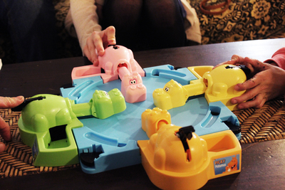 hungry hippo board game cafe, board games, games, cafes, fun for kids